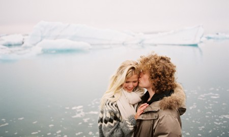 Couple on their honeymoon in Iceland