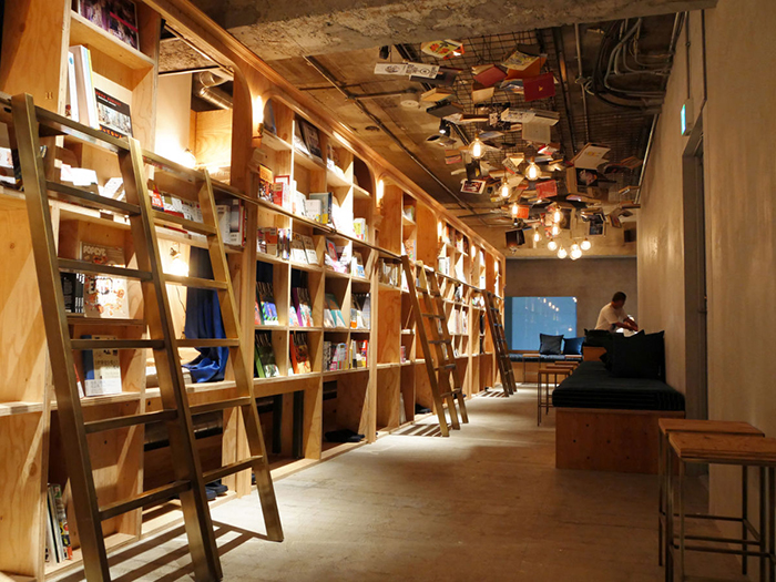 Beds in book and bed bookstore in Tokyo