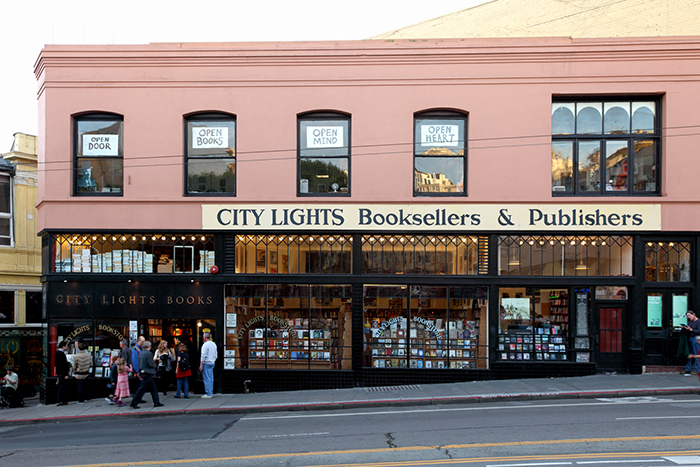 Outside of City Lights bookstore in San Francisco