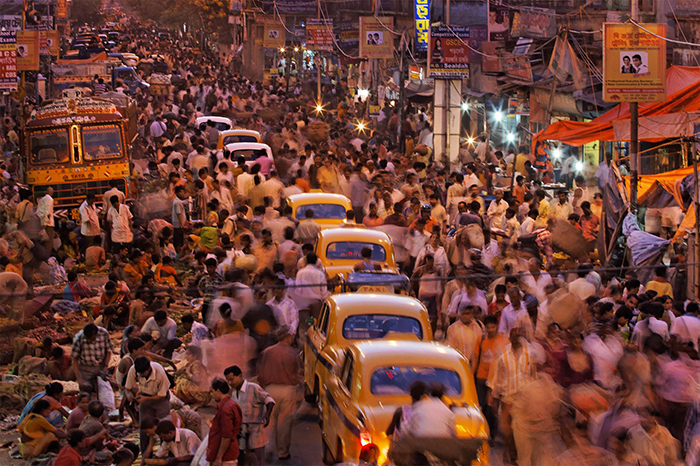Crowded streets in India