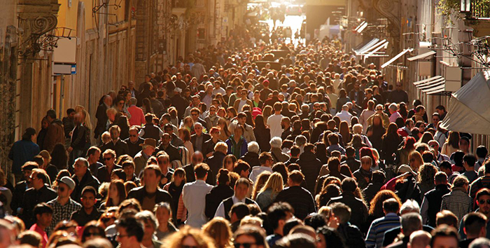 Growing human population crowded city