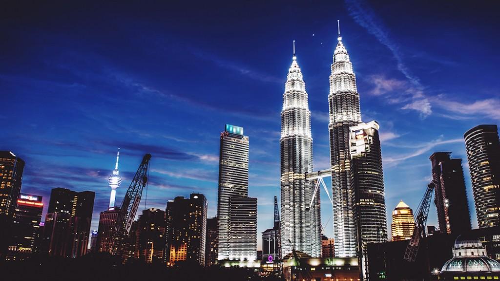 Kuala Lumpur by night with beautiful lighting