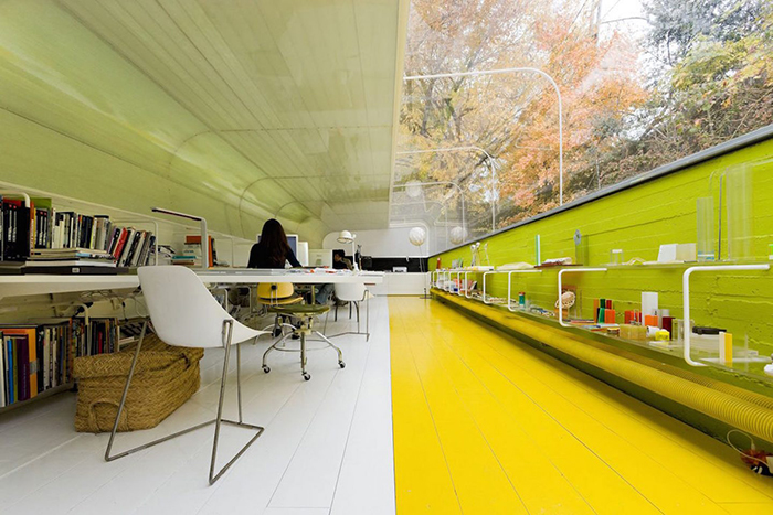 Colorful workplace office in the woods