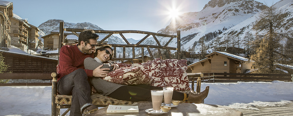 Couple having fun in Val d'Isere