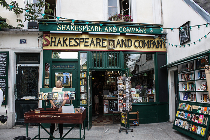 Outside Shakespeare and Company in Paris