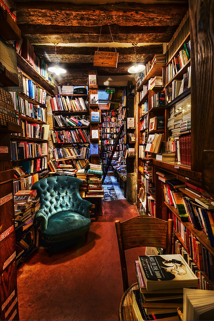 Inside Shakespeare and Company bookstore resting area