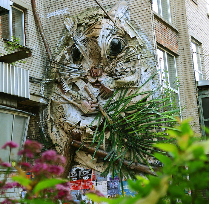 Squirrel art on building in Tallinn