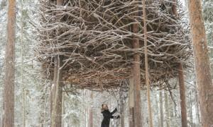 Woman entering Bird's Nest Tree House in Sweden