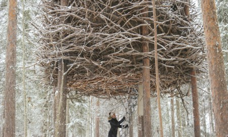 Woman entering Bird's Nest Tree House in Sweden