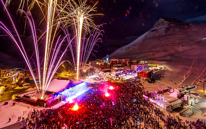 Night party on the ski slopes in Val d'Isere