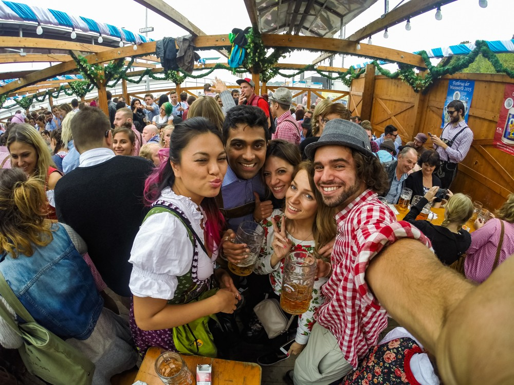 People drinking beer at Oktoberfest