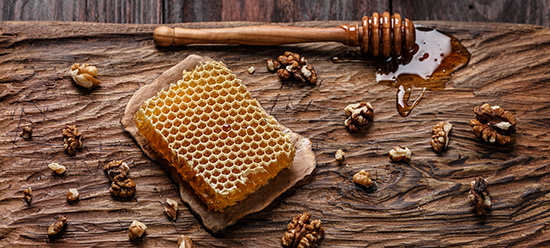 honeycomb with walnuts and honey
