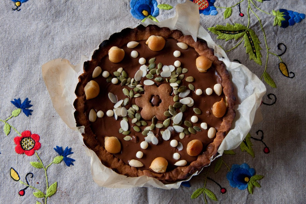 Polish Easter cake decorated with nuts and seeds