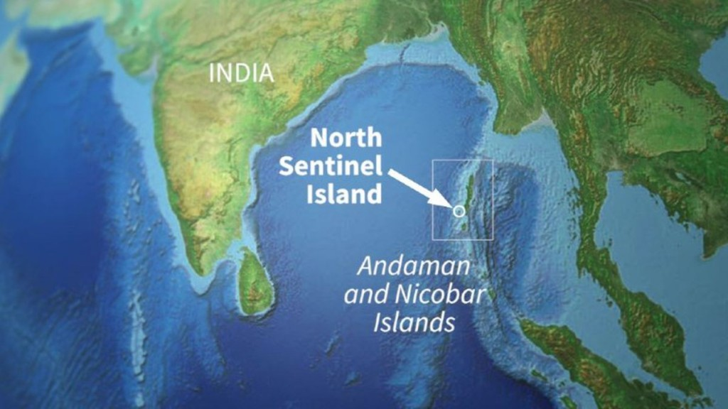 North Sentinel Island shown on the world map