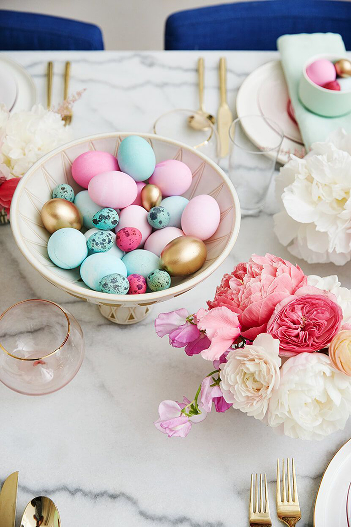 Easter eggs and table nicely decorated
