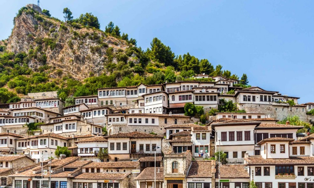 White houses in Berat surrounded by nice nature