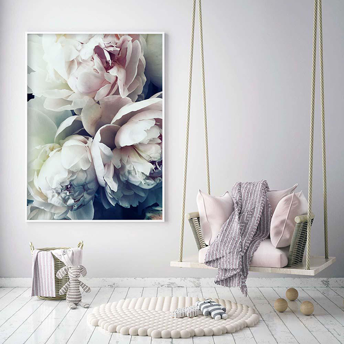 Spring decor on the wall blooming artwork