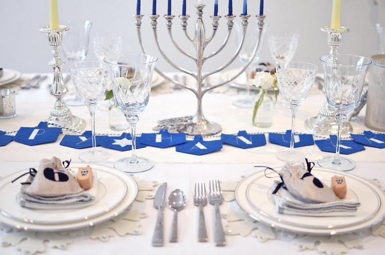 Elegant table decoration with Hanukkah menorah