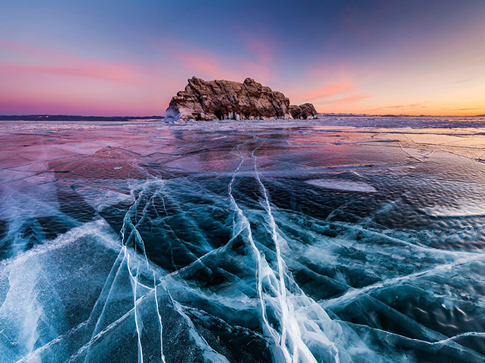Beautiful sunset at Baikal Lake Russia