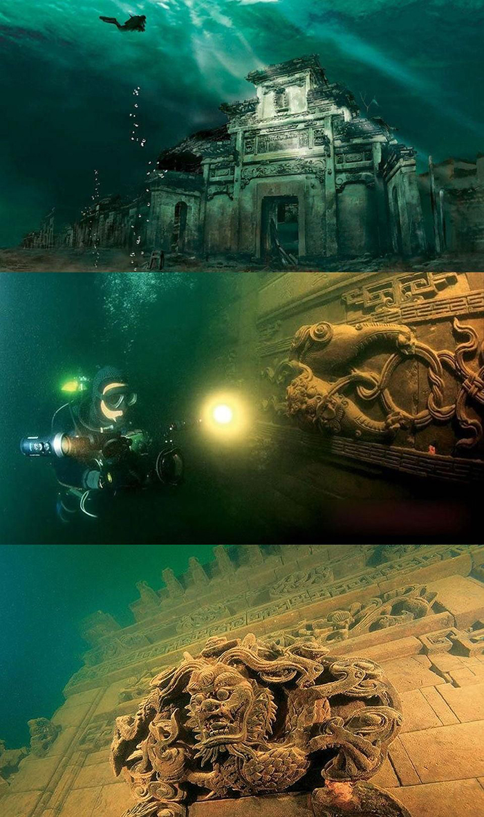 Diver in Qiandao Lake underwater city