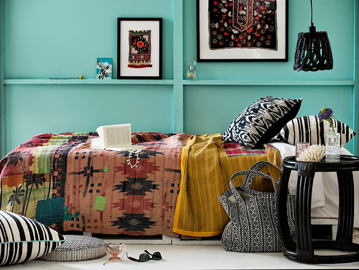 Tribal textile decor in bedroom