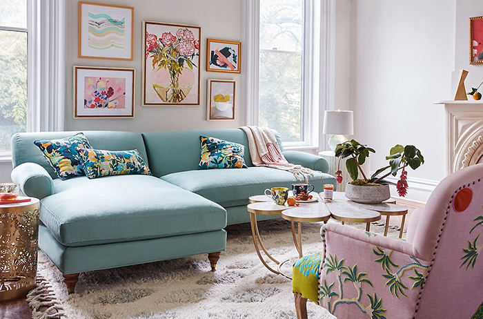 Colorful living room with fresh spring decor