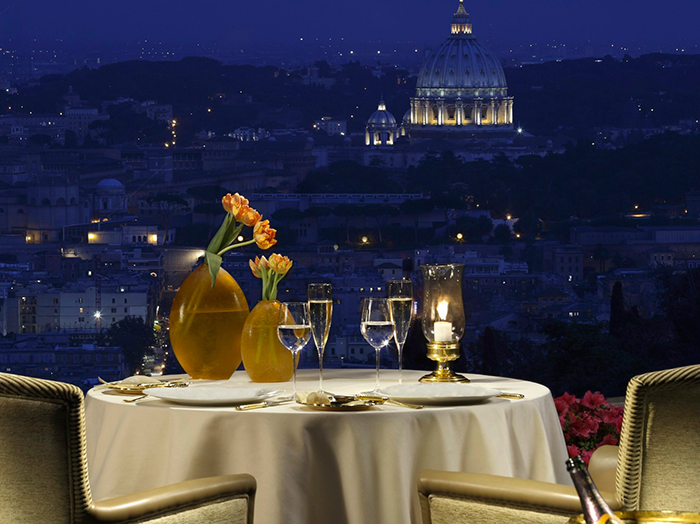 Amazing view by night from La Pergola restaurant in Italy