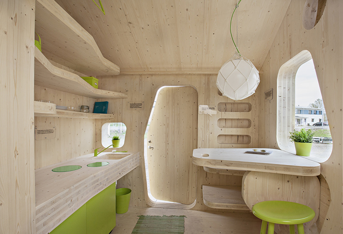 Minimalistic interior design in tiny house on wheels