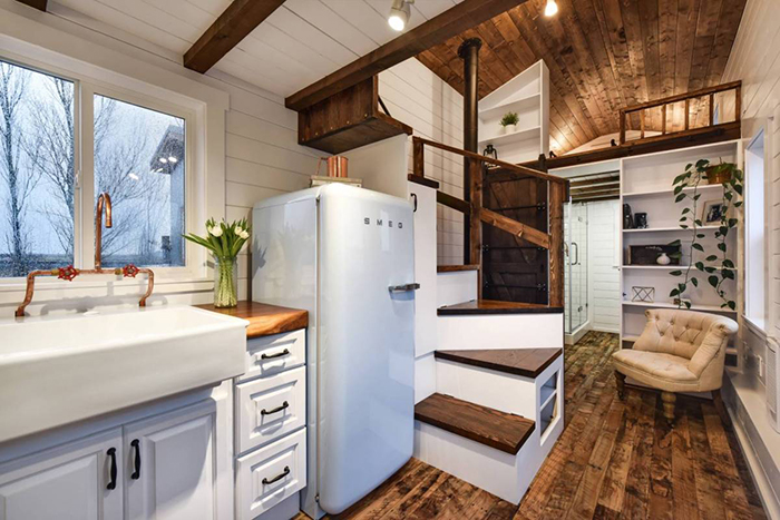 Cozy vintage interior in tiny house on wheels