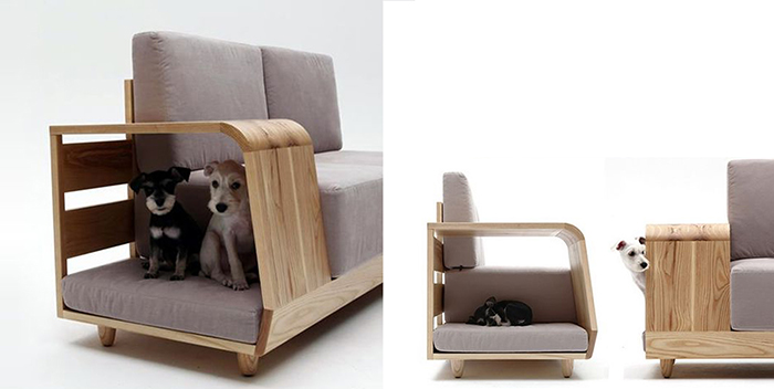 Two puppies in their pet house under a sofa