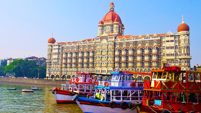 Mumbai port with three ships