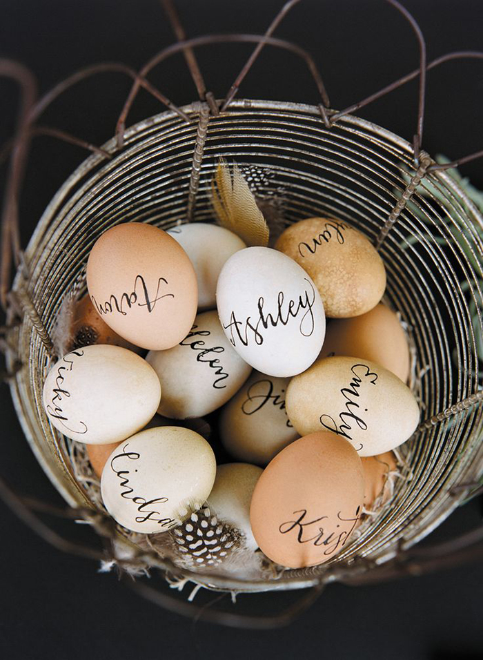 Personalized Easter eggs in a egg holder
