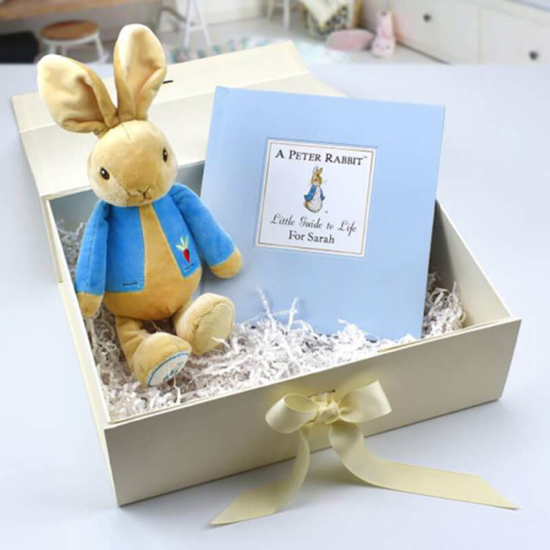 Plush rabbit and a book in a box