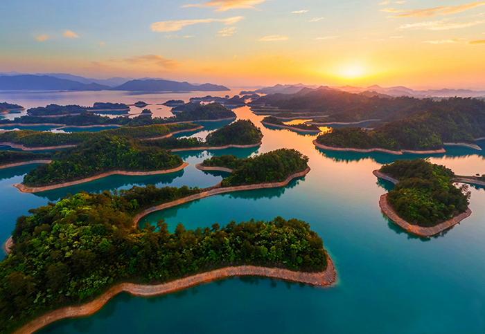 Beautiful sunset in Qiandao Lake China