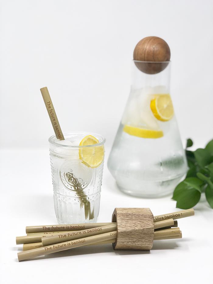 Reusable bamboo straws in lemonade