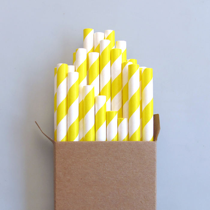 Bright yellow paper reusable straws