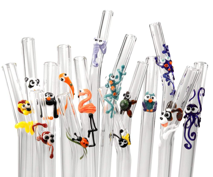 Colorful kids glass straws