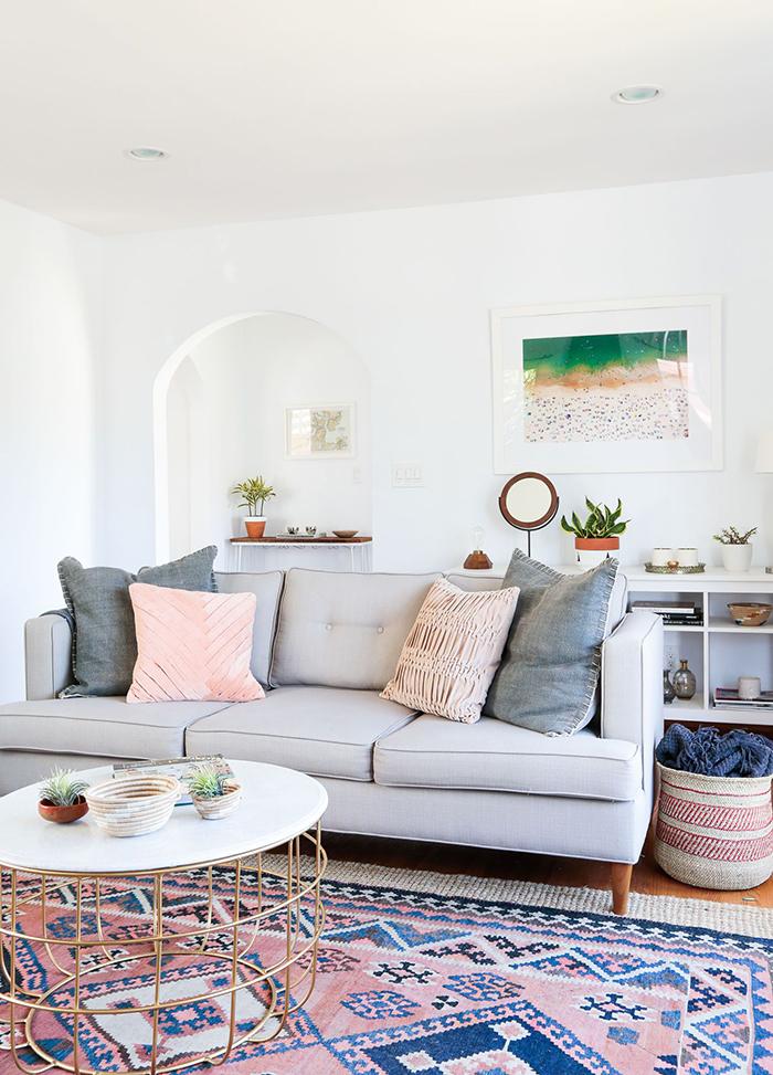 Pink fresh carpet in living room