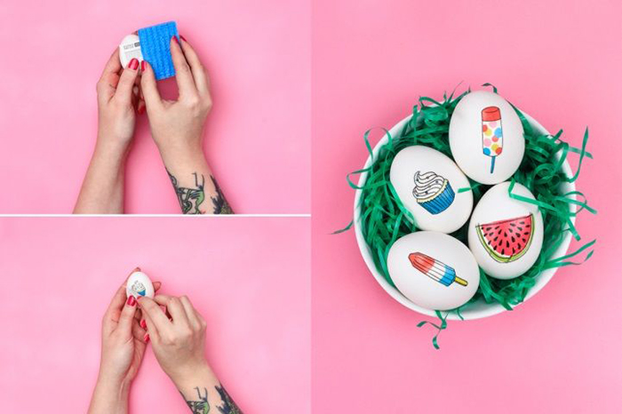 Temporary tattoos as Easter egg decor