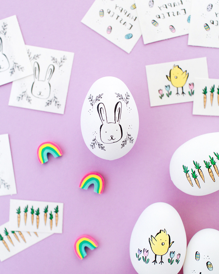 Temporary bunny tattoos for Easter eggs
