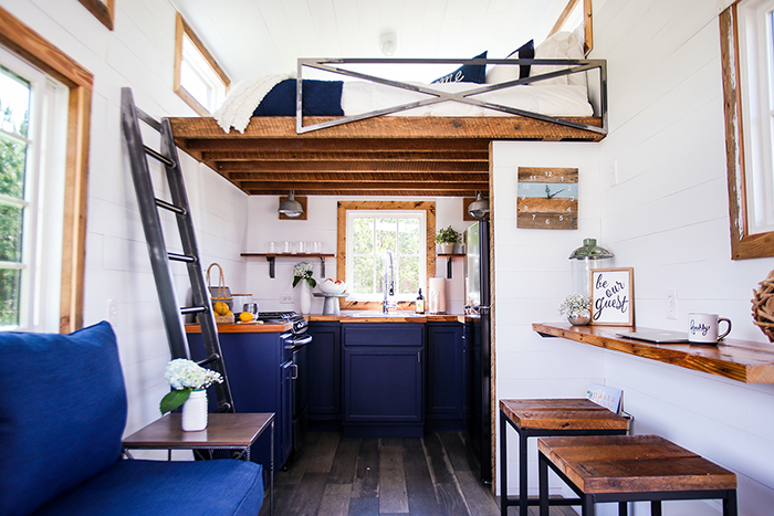 Tiny house inside with second floor bedroom