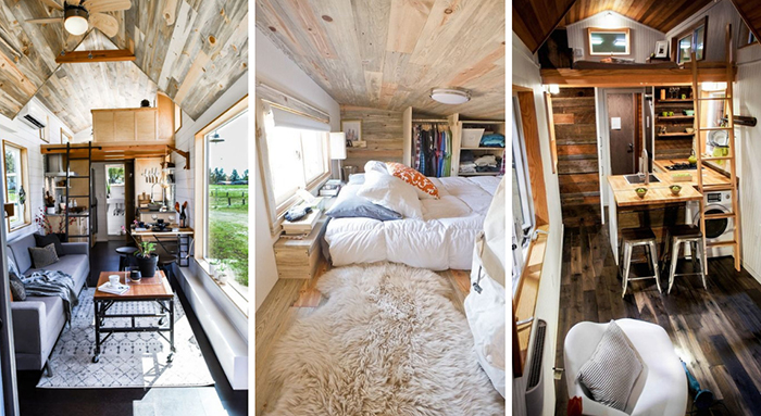 Tiny houses with warm interiors