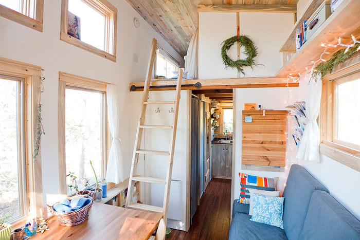 Tiny house with wooden ladder leading to second floor bedroom