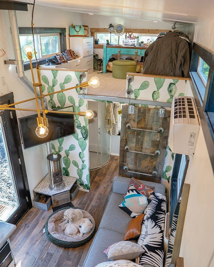 Two floor tiny house in vintage style