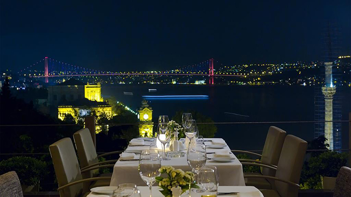 Amazing panorama view from Topaz restaurant by night