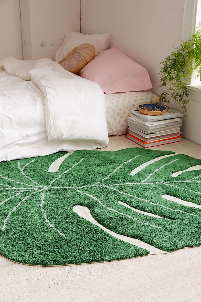 Tropical textile rug in bedroom