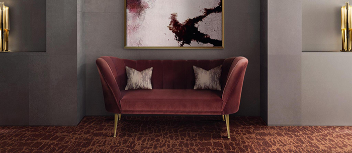 Velvet Sofa with large velvet art on the wall