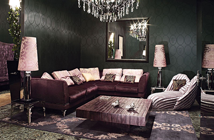 Luxury living room with velvet textiles