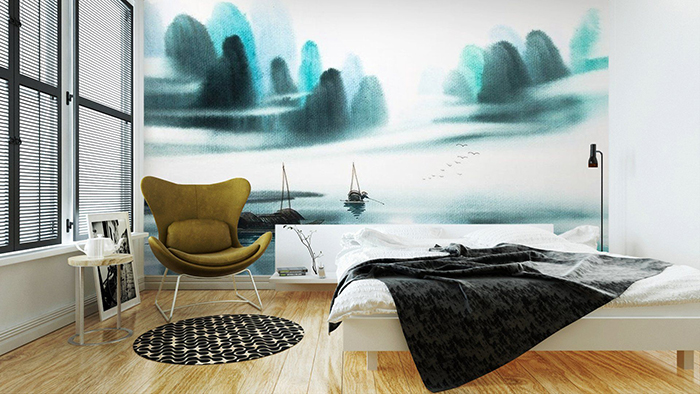 Large watercolors wall picture in a big bedroom