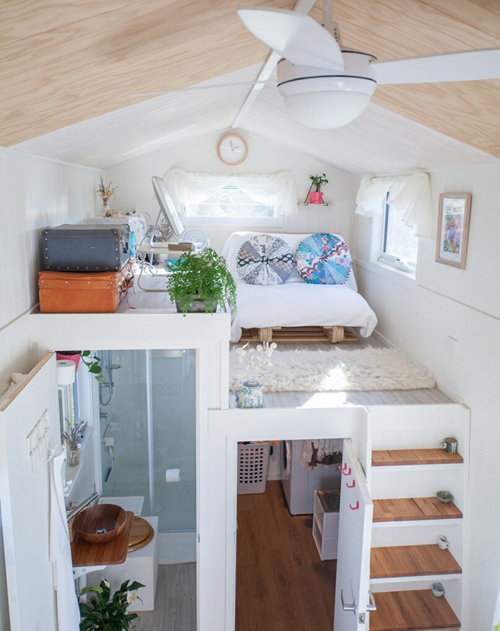 Cozy white interior in house on wheels